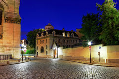Sacre Coeur Cathedral area on Montmartre Hill at Dusk, Paris Royalty Free Stock Images