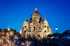 Sacre Coeur Cathedral on Montmartre Hill at Dusk, Paris Stock Photos