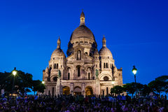 Sacre Coeur Cathedral on Montmartre Hill at Dusk, Paris Stock Photo