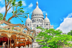 Sacre Coeur Cathedral on Montmartre Hill Stock Photos