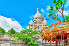 Sacre Coeur Cathedral on Montmartre Hill Royalty Free Stock Image