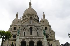 Sacre Coeur cathedral, Montmartre, Paris. Front view of Sacre Coeur cathedral Stock Photography