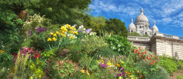 Sacre Coeur Cathedral in Paris, France, panoramic imaage Stock Photo