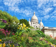 Sacre Coeur Cathedral in Paris, France, panoramic imaage Royalty Free Stock Images