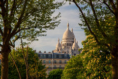 Sacre Coeur Cathedral during spring time in Paris, France Stock Photos