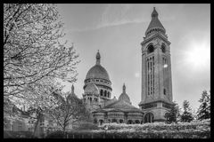 Sacre Coeur Cathedral during spring time in Paris, France Stock Images