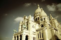 The Sacre-Coeur church Paris. The Sacre-Coeur church in Montmartre, Paris view in sepia filter stock image