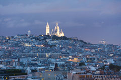 Sacre Coeur die van de toren van Eiffel wordt bekeken Royalty-vrije Stock Fotografie