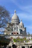 Sacre Coeur domkyrka på den Montmartre kullen, Paris france Arkivbild