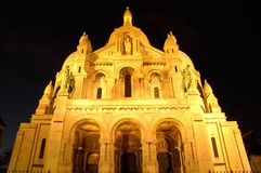 Sacre Coeur em a noite, Montmartre, Paris Fotografia de Stock Royalty Free