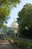 Sacre-Coeur and the funicular to Montmartre Royalty Free Stock Photography