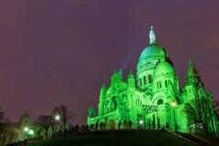 Sacre Coeur i Montmartre, Paris på natten Arkivbilder