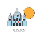Sacre Coeur illustration. Sacre Coeur basilica vector illustration in simple flat style with thin lines. Sightseeing of Montmartre district, Paris, France. Can vector illustration