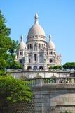 Sacre Coeur kyrka Paris Frankrike på Sunny Day Fotografering för Bildbyråer
