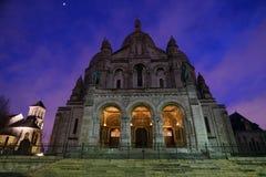 Sacre coeur lub bazylika Święty serce Paryż po deszczu przy świtem Fotografia Stock