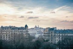 Sacre Coeur and Montmartre Hill in Paris, France. Sacre Coeur and Montmartre Hill seen from Buttes Chaumont Park in Paris, France Stock Photography