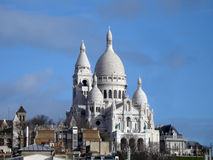 Sacre Coeur Montmartre, Paris. Blue sky backgrount stock images