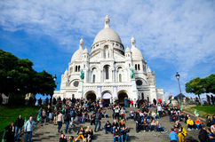 Sacre Coeur in Montmartre, Paris. Tourists at Sacre-Coeur Basilica in Montmartre, Paris Stock Image