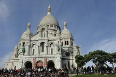 Sacre-Coeur in Montmartre, Paris. The famous basilica of the Sacred Heart in Paris, France Royalty Free Stock Photos