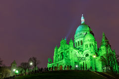 Sacre Coeur in Montmartre, Paris at night Stock Images