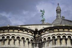 Sacre Coeur, Montmatre Paris France. Facade details. stock images