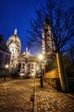 Sacre Coeur na noite, Paris, France fotografia de stock