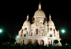 Sacre Coeur at night Royalty Free Stock Photos