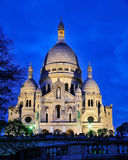 Sacre Coeur by Night. The Sacre Coeur, the world-famous church of the Sacred Heart in Paris, France, photograped in the evening stock image