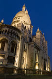 Sacre Coeur Night. The Basilica of the Sacred Heart of Paris Basilique du Sacre Coeur, Paris by an evening with a dark blue sky as a background Royalty Free Stock Image