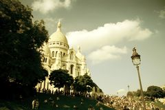 The Sacre-Coeur in Paris. The Sacre-Coeur church in Montmartre, Paris view in sepia filter stock photo
