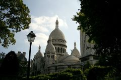 Sacre Coeur, Paris, France. Vue from the parc in summer stock photography