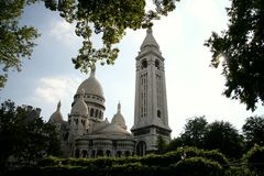 Sacre Coeur, Paris, France. Vue from the parc in summer royalty free stock images