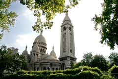 Sacre Coeur, Paris, France. Vue from the parc in summer stock image