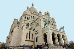 Sacre Coeur. The Sacre Coeur Basilica in Paris at the summit of the hill of Montmartre stock image