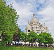 Sacre coeur and trees. Paris Royalty Free Stock Photo