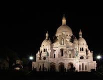 Sacre Couer Katedra w Paryż, noc Obrazy Stock