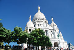 Sacre Couer at Mont Martre, Paris. The famous church of the Sacred Heart on the top of the hill of Mont-Martre, in Paris. France Royalty Free Stock Photos