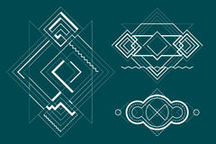 Sacred, Alchemy and Space Geometry. Abstract geometric a black and white background and elements in line art style Royalty Free Stock Photo