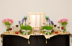 Sacred altar or shrine (7 Seen ). Sacred altar or shrine with candles and decorative flowers Stock Photo
