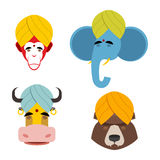 Sacred animals in turban. Sacred Indian elephant meditating. Sac Royalty Free Stock Photo