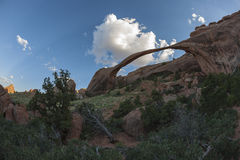 Sacred Arch from below. Sacred Arch in Arches National Park, Moab, Utah, United States of America Stock Photo