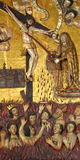 Sacred art I. Golden painting of Jesus Christ in the ancient church of coyoacan, mexico city, mexico stock photography