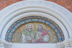 Sacred art mosaic. Detail of a mosaic of a church in Italy, medieval art stock image