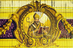 Sacred Art. A 400-year old painting on a church ceiling depicting the San Atanasio in Pampanga, Philippines. The church is one of the country's national treasure stock image