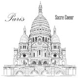 Sacred basilica Sacre Coeur in Paris, France vector hand drawing. Illustration in black color isolated on white background Stock Photo