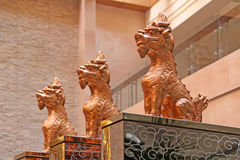 Sacred beasts sitting in the temple. In china Royalty Free Stock Image