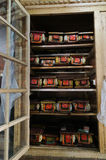 Sacred books. Library in Buddhist monastery,Ladakh,India Stock Photos