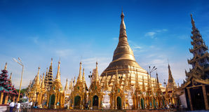 Sacred Buddhist place Shwedagon Pagoda. Yangon, Myanmar (Burma) Royalty Free Stock Photo
