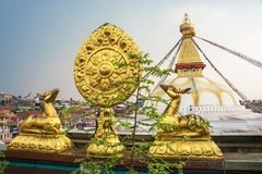Sacred Buddhist symbol in Nepal. Sacred Buddhist symbol on the background Of bodnath stupa in Kathmandu, Nepal royalty free stock photo