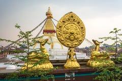 Sacred Buddhist symbol in Nepal. Sacred Buddhist symbol on the background Of bodnath stupa in Kathmandu, Nepal stock images
